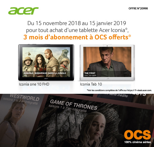 Tablette Android Acer Iconia Tab 10 ou Iconia One 10